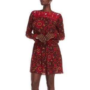 Desigual Red Rosi Printed Long Sleeve Dress NWT